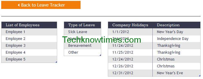 employee leave tracker excel