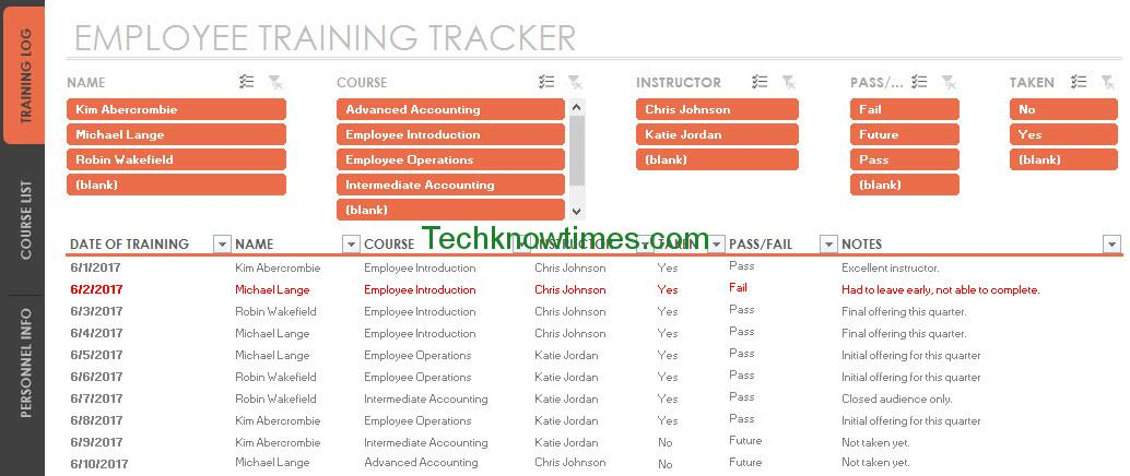 Employee Training Tracker Template Excel | Microsoft Office Templates