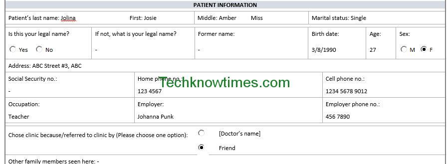 Patient Registration Form Template - Ex