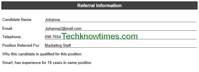 Employee Referral Form Template In Ms Word