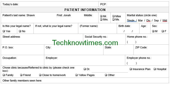 Patient Registration Form Template In Ms Word  Microsoft Office