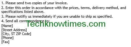 purchase order format in excel with terms & conditions