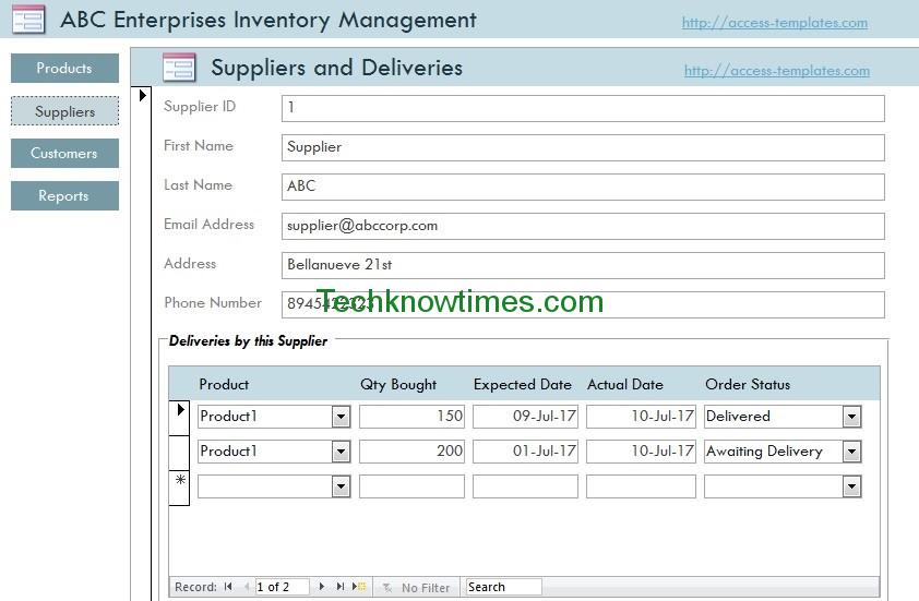 Access Database Templates Inventory-2