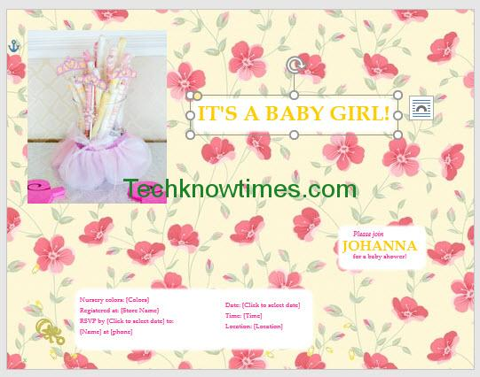 baby shower invitations girl flowers