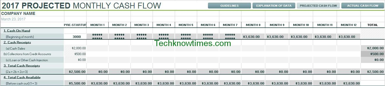 Cash Flow Projection For 12 Months Templates