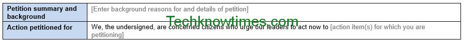 petition template word