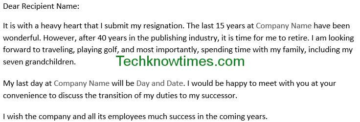 resignation letter template word